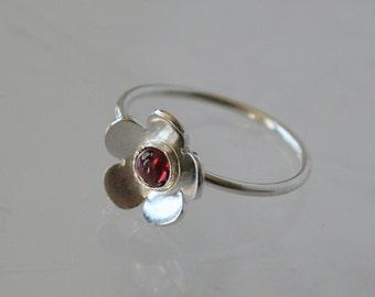 Cherry Blossom, Sterling Silver and Rhodolite Ring, Red Gemstone RIng, Tiny FLower RIng, Bezel Set, Red Stone, Cherry Ring, Flower RIng, 925