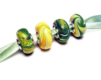 European Large Hole Bead Set 4 Handmade Polymer Clay Canework Silver Plated Grommets Green Yellow Lime Supplies Fashion