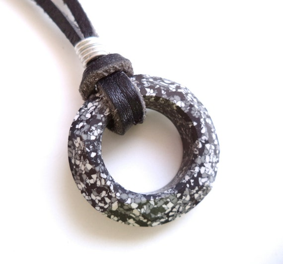 Men's Marbled Eternity Ring and Black Leather Necklace - Unisex Jewelry - made with SWAROVSKI® Crystals