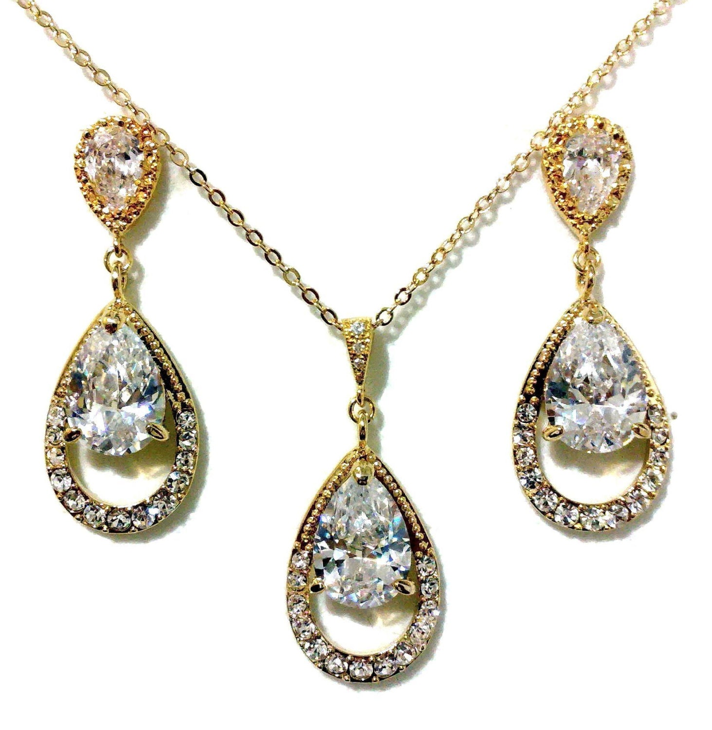 Cubic Zirconia Jewelry Sets : Gold bridal jewelry set cubic zirconia necklace