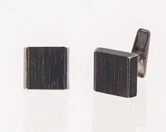Allan Adler Cufflinks - Sterling & Wood - Modernist dated 1963