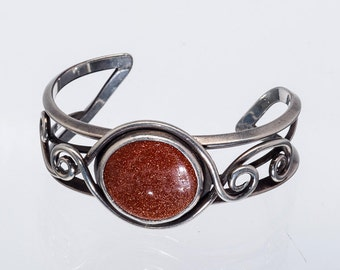 Mid Century Goldstone Sterling Bracelet - Signed Cuff - 40g - Best Buy