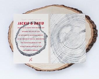 Rustic Wedding Invitation - Wood Grain Invite