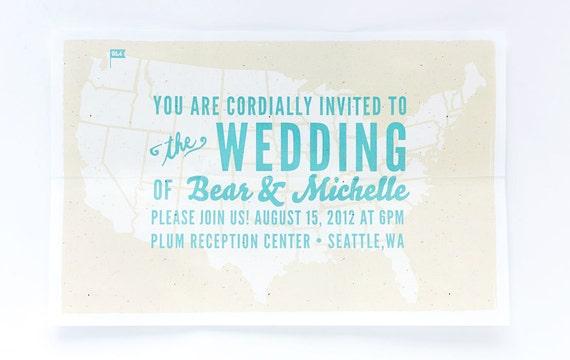 Rustic Wedding Invitation - Modern Folded Map