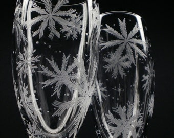 Flutes Winter Wedding Two Hand Engraved Champagne Flutes 'Floating Flakes' Crystal Glass Holiday Stemware