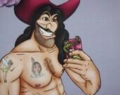 Selfie Captain Hook Peter Pan Postcard