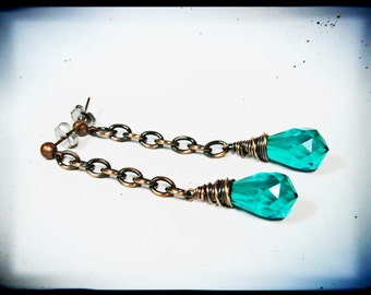Jewel Tone Vintage Acylic Emerald Dangle Earrings