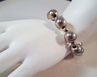 Monet Silver Ball Bracelet Vintage Antique OOAK