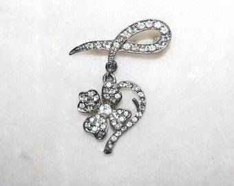 Vintage Rhinestone Brooch Dangling Dogwood Heart Bling