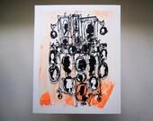 CAMEOS #036 | cartoon style silhouettes | neon orange and black | original fine art screenprint by Kathryn DiLego
