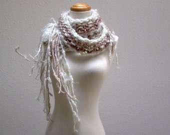 froth. handknit wool scarf . chunky knit cuddly soft warm winter scarf . white cocoa brown . handspun art yarn mohair locks new zealand wool