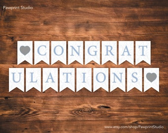INSTANT PRINTABLE Bunting: Blue Swirls Congratulations Bunting Banner