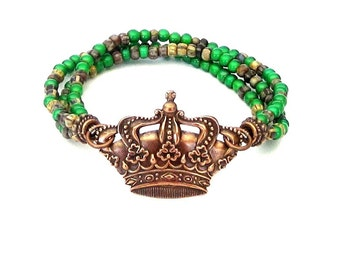 Crown Triple Strand Bracelet with Czech Glass Beads antique copper green brown beige princess queen royal royalty 3 three strand