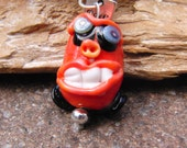 Lampwork glass charm monster Felix  sra