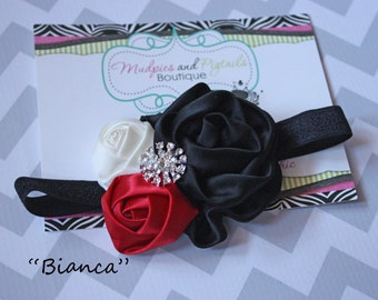 Christmas baby headband { Bianca } black, cream red satin flower, holiday dress, santa, winter photography prop