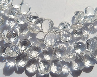 ROCK CRYSTAL Gemstone. Semi Precious Gemstone Bead. Faceted Pear Briolettes. 9mm.  Pair or Non Matching 1 to 5 Briolettes  (dqzc1) Last Ones