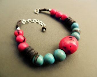 Amazon Seed Bracelet - Aqua & Berry Red