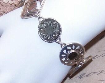 Vintage STERLING SILVER & Mother of Pearl Link Bracelet