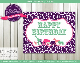INSTANT DOWNLOAD - Zoo Animals: Welcome Sign and Happy Birthday Sign - Item 107a