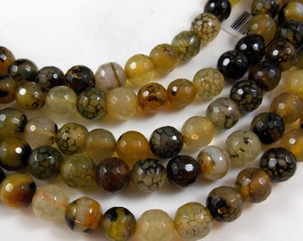 Crab Fire Agate Gemstone Faceted Round Beads, 8 MM, One Factory Strand AGA915