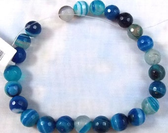 Blue Sardonyx Gemstone Beads, 8 MM Faceted Round, One Factory Strand, SAR838