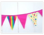 Circus Banner, Carnival Banner, Circus Bunting, Rainbow, Hot Pink, Yellow Dots, Fabric Banner, Birthday Decor, Pennant Flags, Fabric Bunting