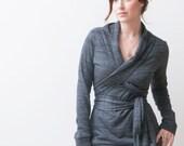 Long Sleeve Top, Women's Blouse, Dark Grey Wrap Top, Great As A Nursing Shirt