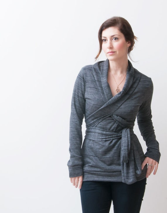 Long Sleeve Top, Women's Blouse, Dark Grey Wrap Top, Great As A Nursing Shirt
