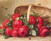 Basket of Victorian Roses, Art Print, Paul de Longpre, Half Yard Long, Shabby Chic Decor, Wall Art