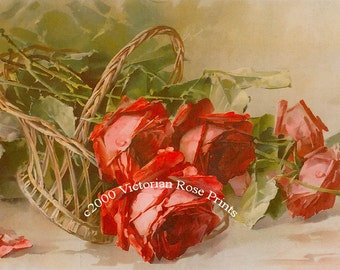 Art Print, Catherine Klein, French Roses Tipped Basket, Half Yard Long, Vintage Roses, Wall Art