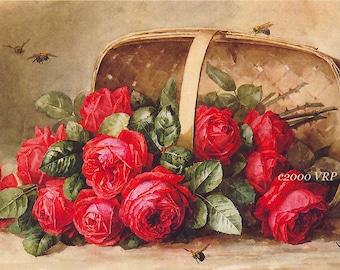 Basket of Victorian Roses, Art Print, Paul de Longpre, Half Yard Long