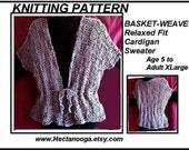 KNITTING PATTERN, Relaxed fit cardigan sweater, age 5 to Adult XXL (58 inch chest), # 613