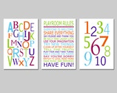 Playroom Rules Alphabet Numbers Set - Kids Wall Art Trio - Set of Three 13x19 Nursery Art Prints - CHOOSE YOUR COLORS