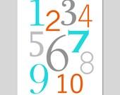 Numbers Nursery Art - 11x14 Print - Kids Wall Art - One Through Ten - CHOOSE YOUR COLORS