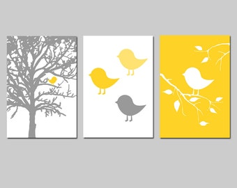 Baby Bird Nursery Art Trio - Baby Bird in a Tree, Baby Chicks, Baby Bird on a Branch - Set of Three Large 13x19 Prints - CHOOSE YOUR COLORS