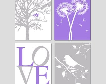 Purple and Gray Nursery Art - Set of Four 11x14 Nature Prints - Love, Birds in a Tree, Dandelions, Bird on a Branch - CHOOSE YOUR COLORS
