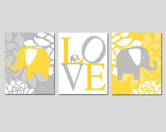 Yellow Gray Grey Nursery Decor Elephant Love Floral Flower Nursery Art Trio - Set of Three Prints - Choose Your Size and Colors