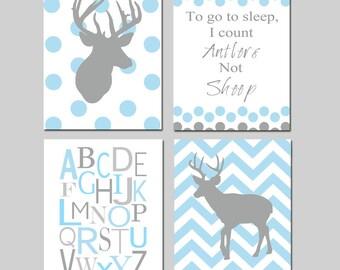 Baby Boy Deer Nursery Art - Polka Dot Chevron Deer, To Go To Sleep I Count Antlers Not Sheep Quote, Alphabet - Set of 4 Prints
