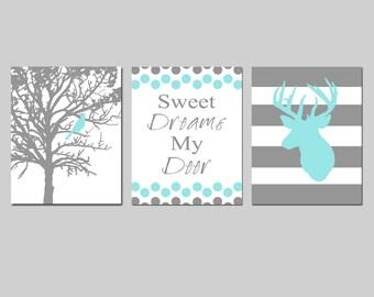 Baby Boy Nursery Art Trio - Set of Three 8x10 Prints - Bird in a Tree, Sweet Dreams My Deer Quote, Striped Deer - CHOOSE YOUR COLORS