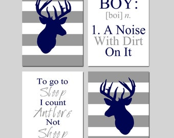 Baby Boy Nursery Art - Stripe Deer - To Go To Sleep I Count Antlers Not Sheep Quote - BOY Definition - Set of Four Prints - Set of 4 Prints