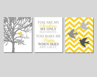 Nursery Decor Bird Family Trio - Set of Three 8x10 Prints - Chevron Birds, You Are My Sunshine, Three Birds in a Tree - CHOOSE YOUR COLORS
