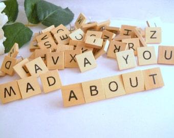 58 Letter Thumb Tacks Decorative Alphabet Wood Thumbtacks for Students, Regular People, English Majors