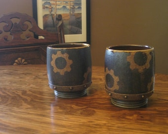 Pitchline Tumblers with Gears: Set of Two