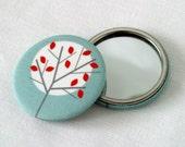 Moonlight Tree fabric covered pocket mirror