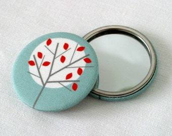 Moonlight Tree fabric covered pocket mirror