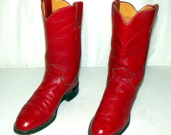 Broken In Red Leather Justin Brand Cowboy Boots size 4 C