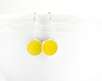 Don't Stop yellow resin and sterling silver earring- springtime summer