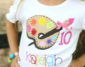 personalized birthday shirt, bright colors paint palette with ribbon and polka dots for art party or painting party