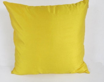 lemon yellow dupioni silk pillow cover  bright yellow silk  pillow. decorative cushion cover 18 inch throw pillow.  in  stock  2 pcs