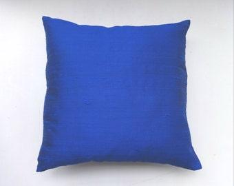 Royal Blue dupioni silk pillow cover 18 inch  throw pillows  20% discount
